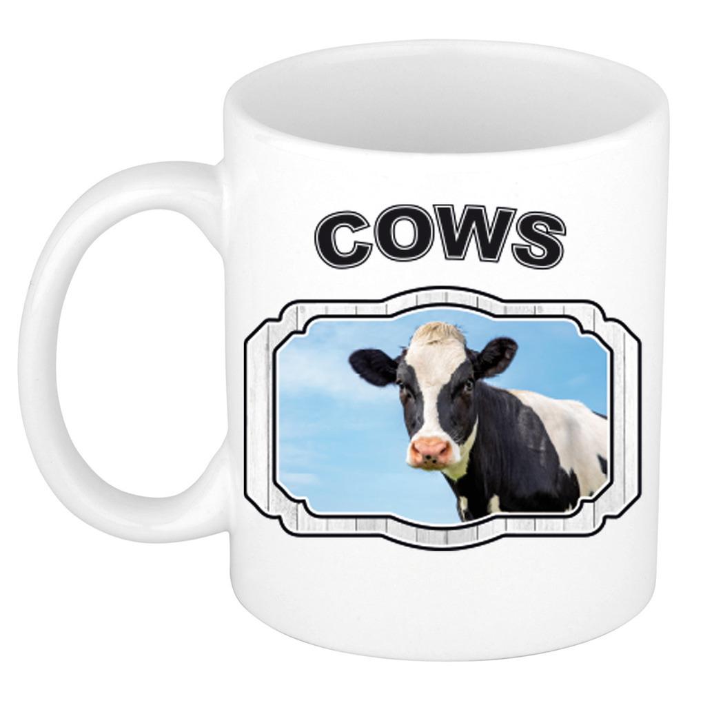 Dieren koe beker - cows/ koeien mok wit 300 ml