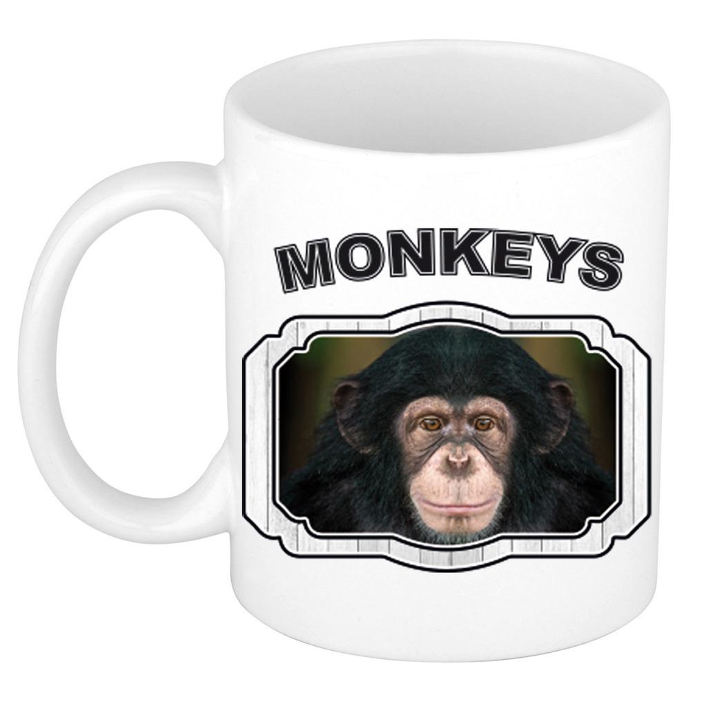 Dieren leuke chimpansee beker - monkeys/ apen mok wit 300 ml