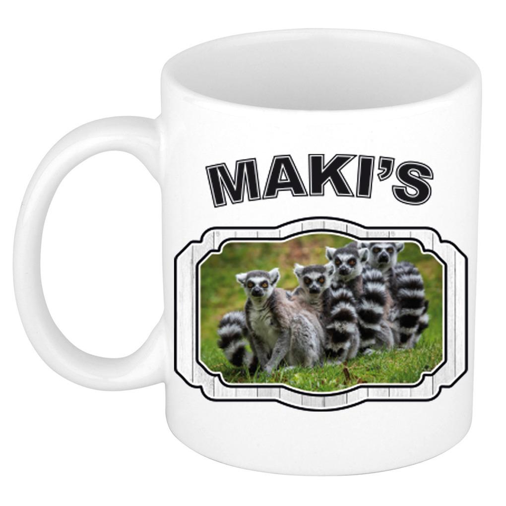 Dieren maki familie beker - makis/ maki apen mok wit 300 ml