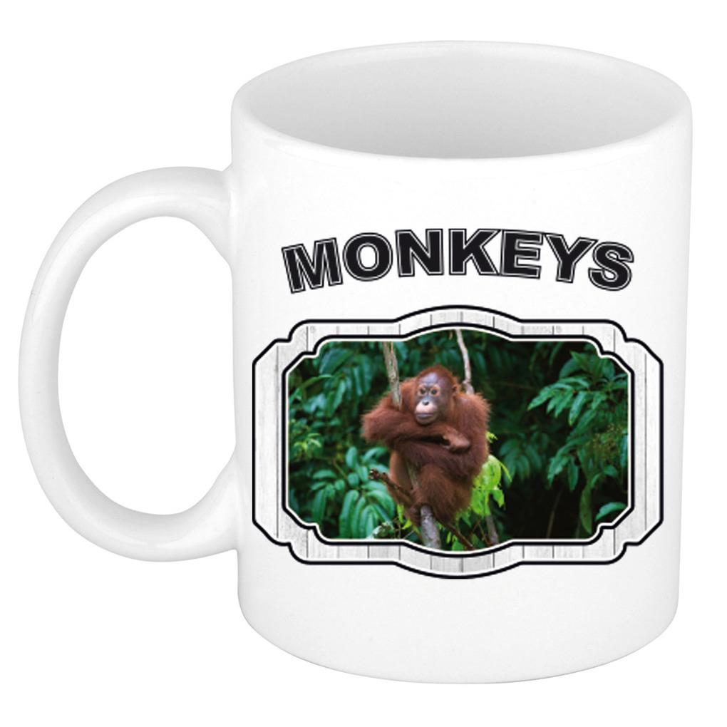 Dieren orang oetan beker - monkeys/ apen mok wit 300 ml