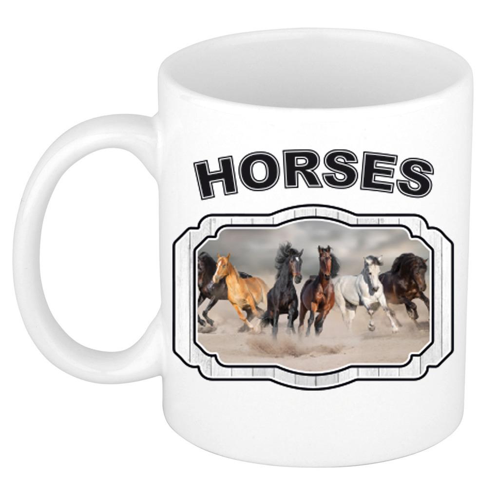 Dieren paard beker - horses/ paarden mok wit 300 ml