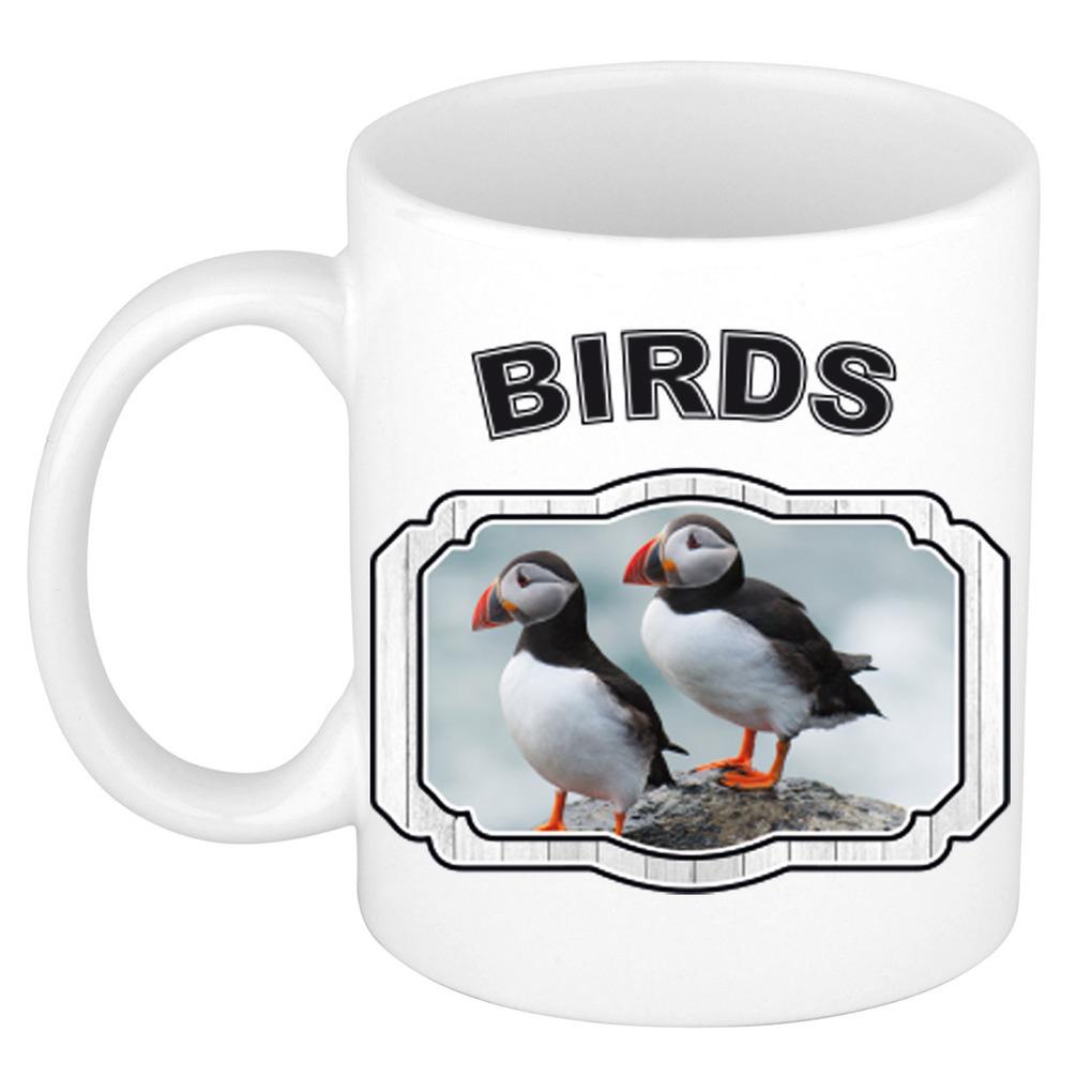 Dieren papegaaiduiker vogel beker - birds/ vogels mok wit 300 ml