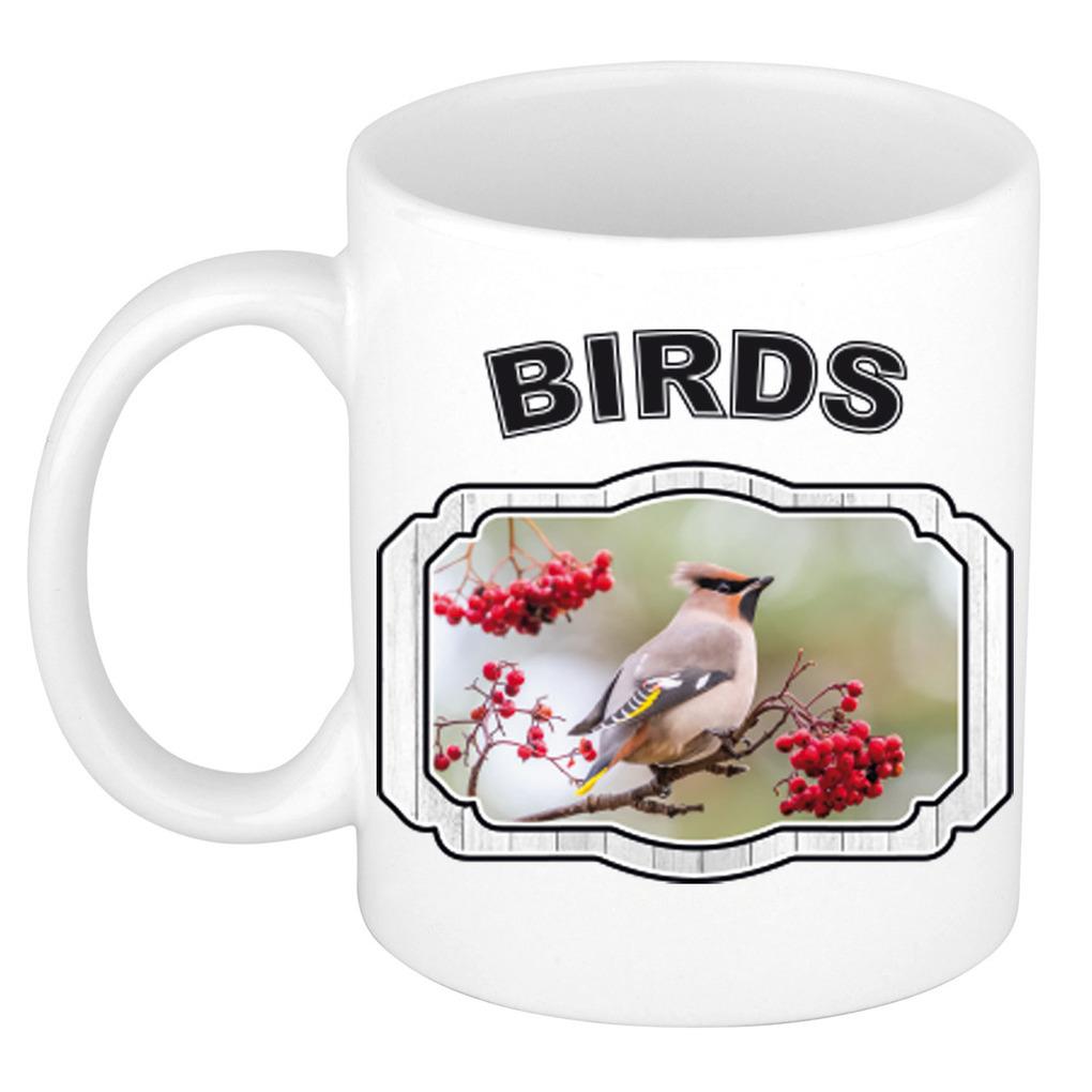 Dieren pestvogel beker - birds/ vogels mok wit 300 ml