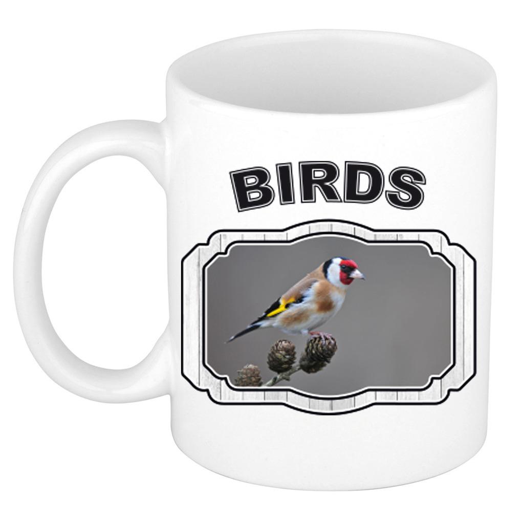 Dieren putter vogel beker - birds/ vogels mok wit 300 ml