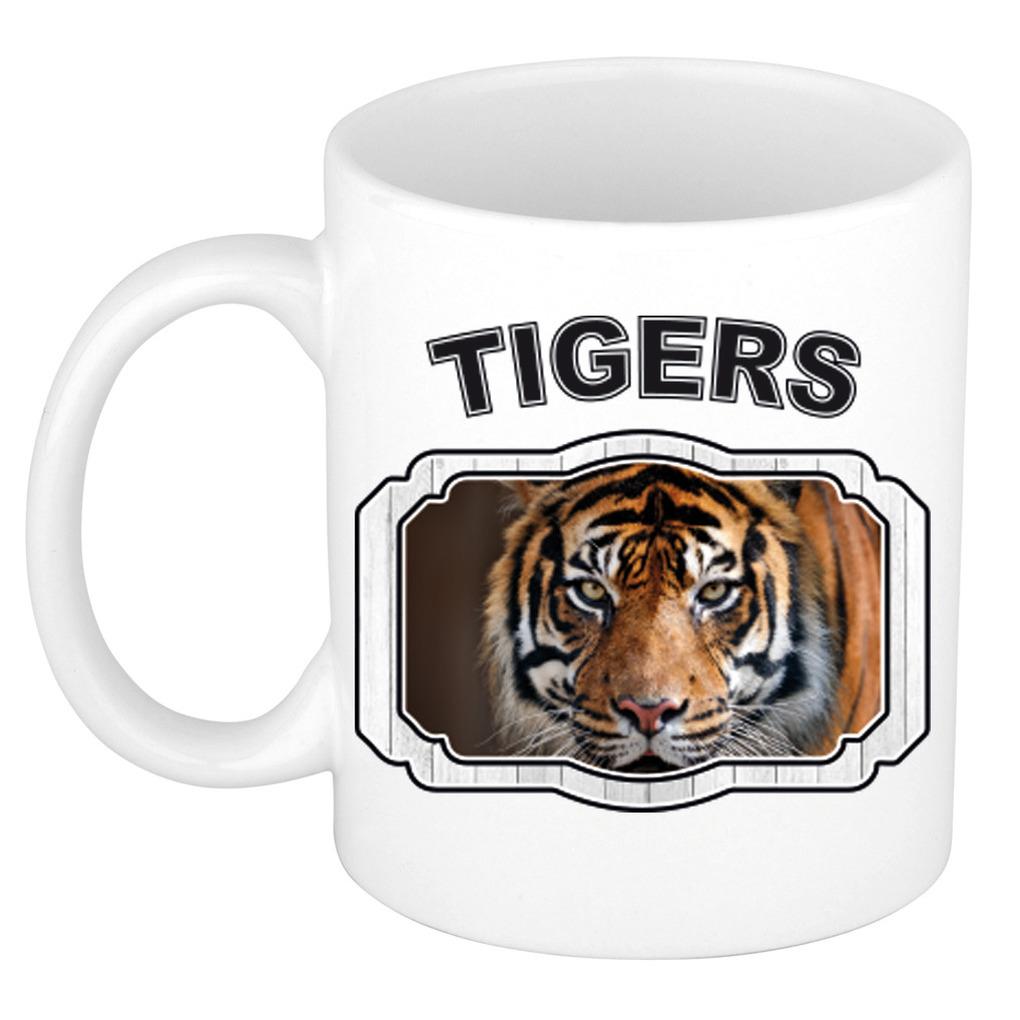 Dieren tijger beker - tigers/ tijgers mok wit 300 ml