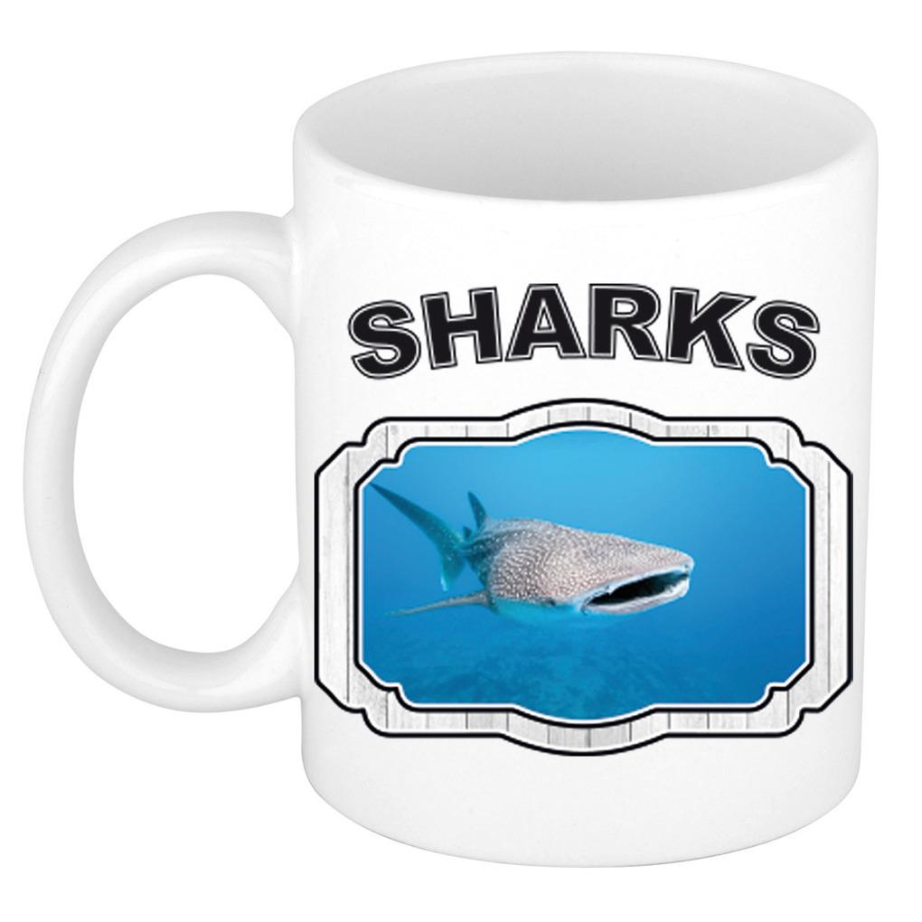 Dieren walvishaai beker - sharks/ haaien mok wit 300 ml