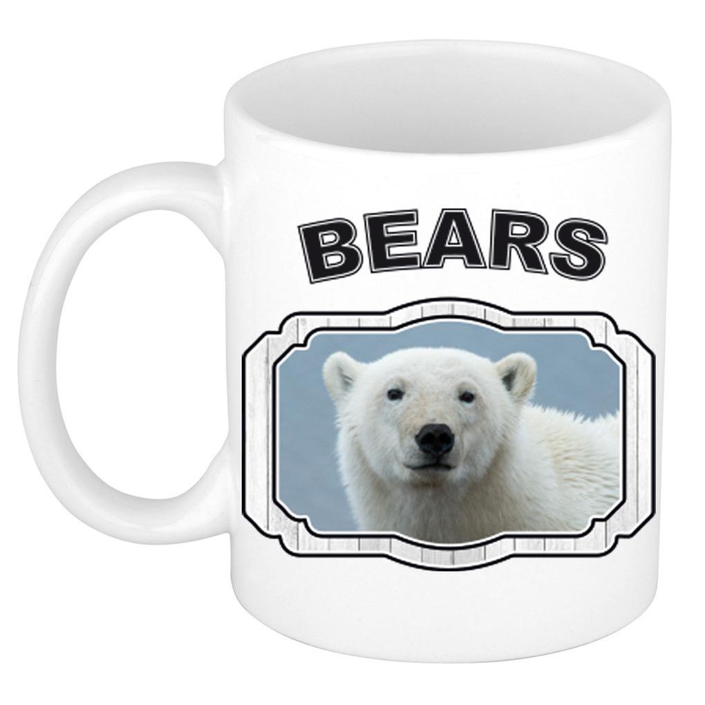 Dieren witte ijsbeer beker - bears/ ijsberen mok wit 300 ml