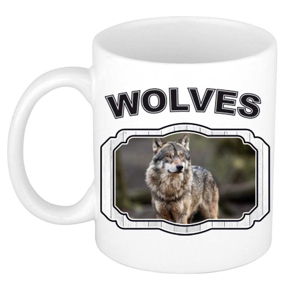 Dieren wolf beker - wolves/ wolven mok wit 300 ml
