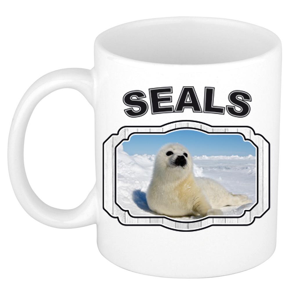 Dieren zeehond beker - seals/ zeehonden mok wit 300 ml