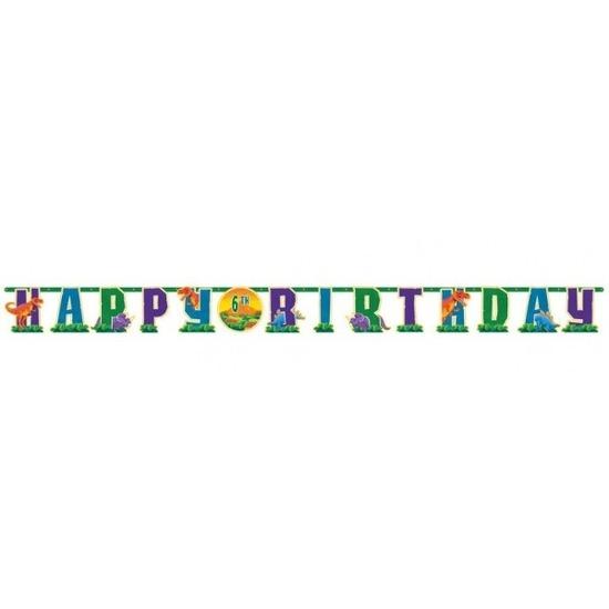 Dinosaurus feestbanner Happy Birthday