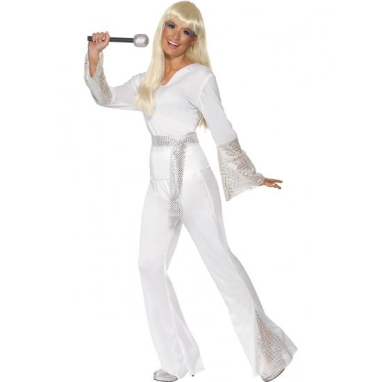 Disco kostuum wit voor dames