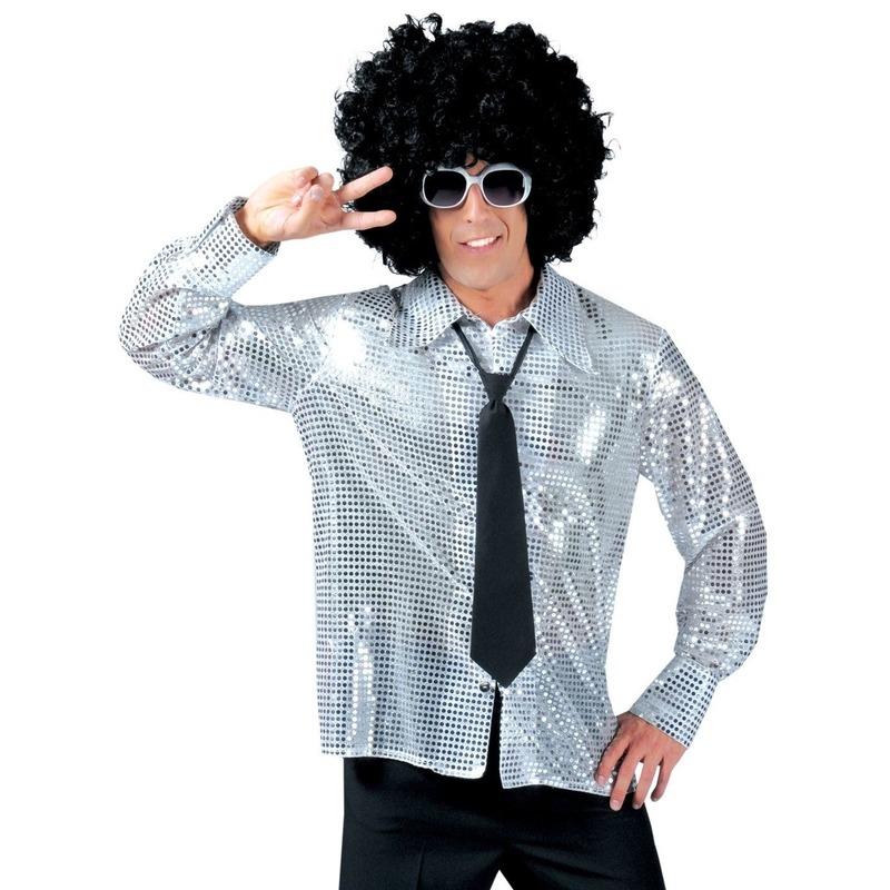 Disco pailletten blouse zilver voor heren
