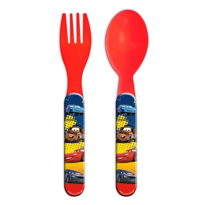 Disney Cars kinderbestek vork met lepel 14 cm