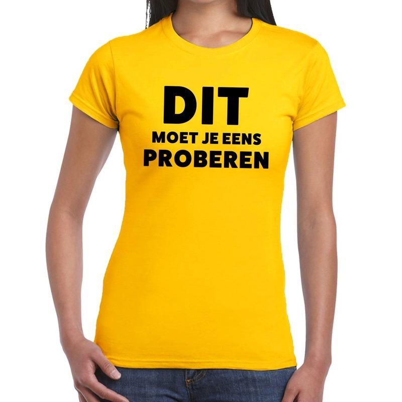Dit moet je eens proberen beurs/evenementen t-shirt geel dames