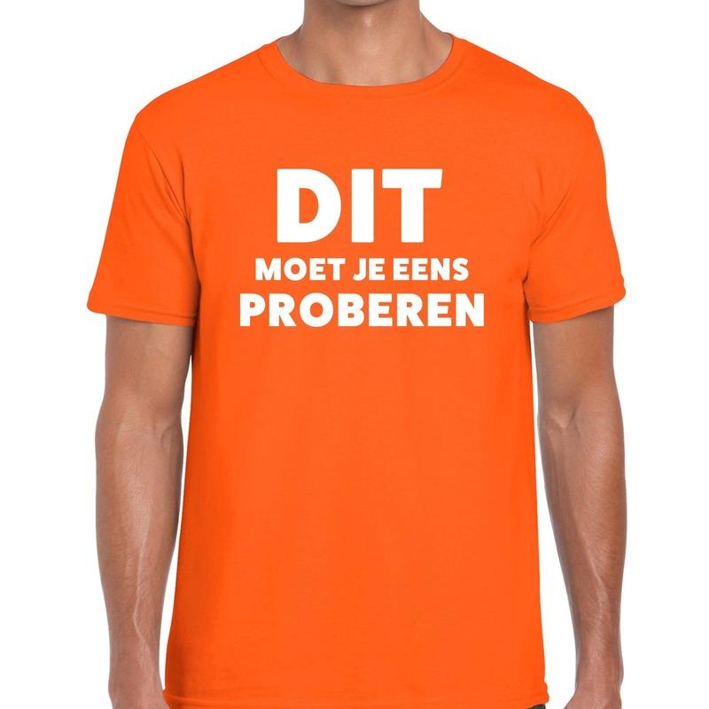 Dit moet je eens proberen beurs-evenementen t-shirt oranje heren