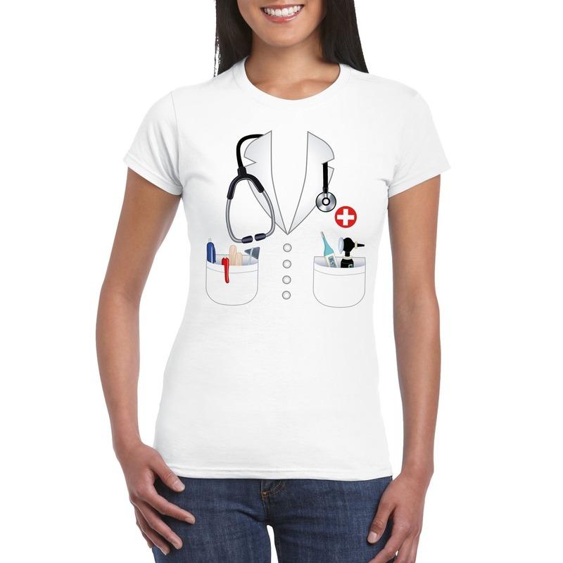 Doktersjas kostuum t-shirt wit voor dames