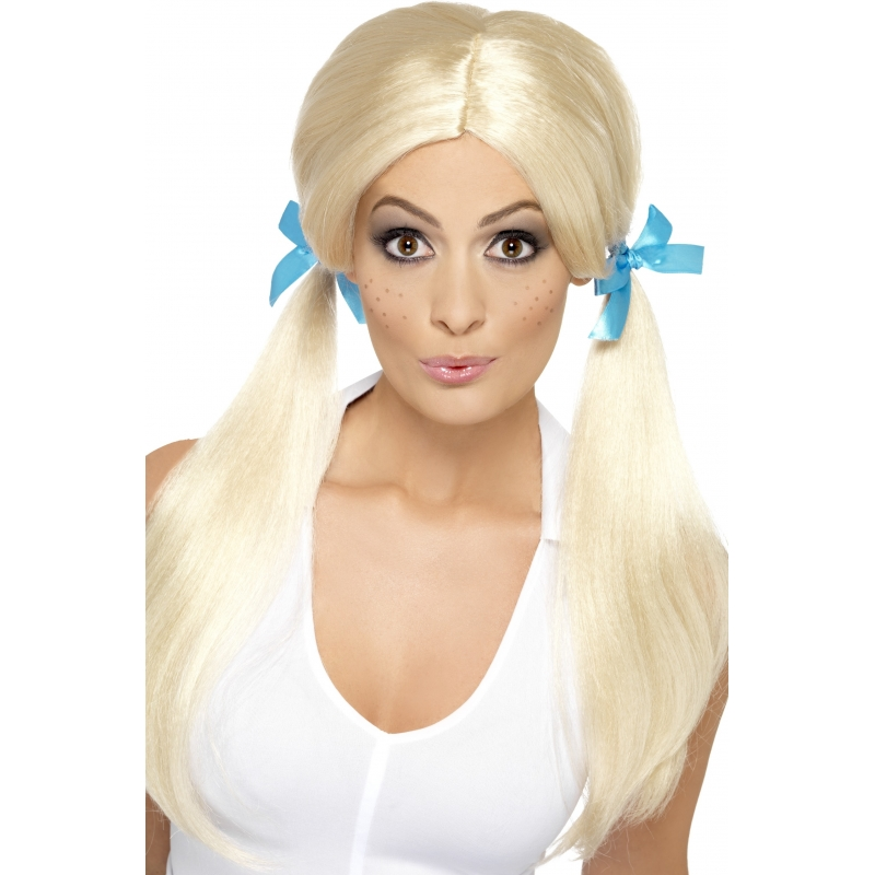 Dom blondje pruik met blauwe strikjes