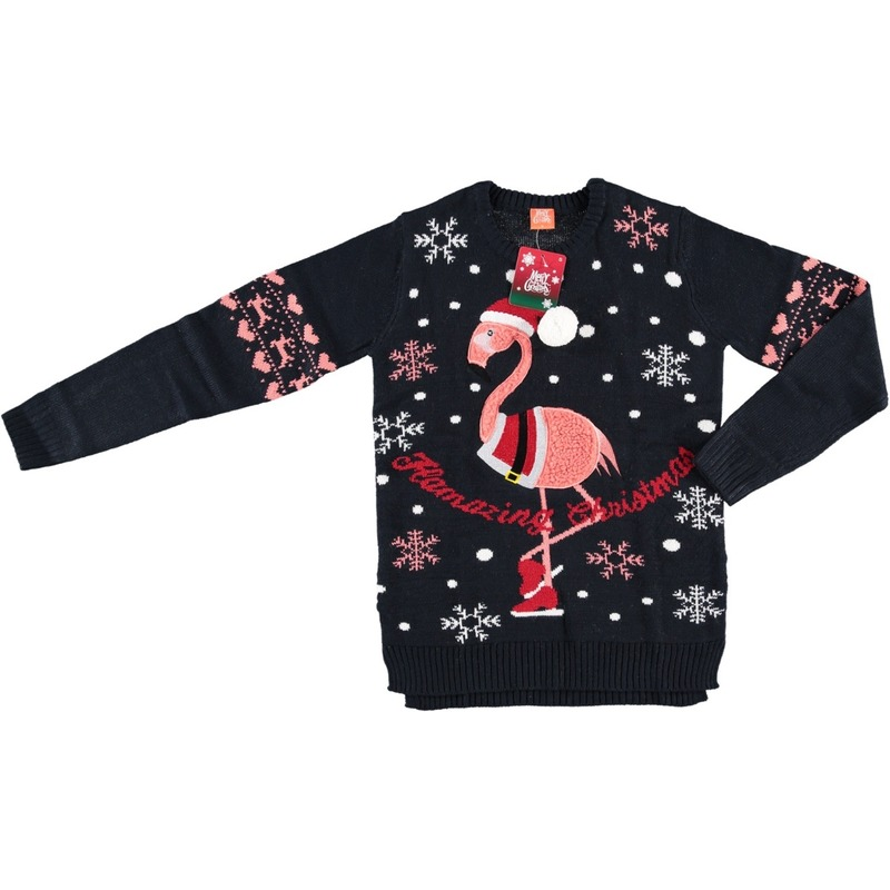 Donkerblauwe dames kersttrui met flamingo L -