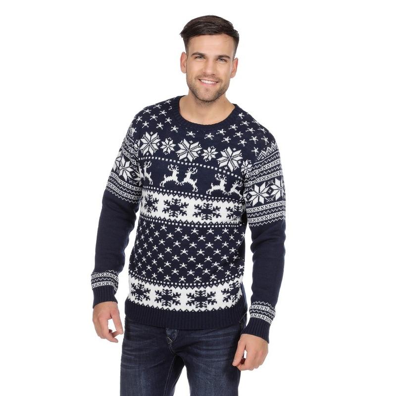 Donkerblauwe kerst trui met rendieren voor heren