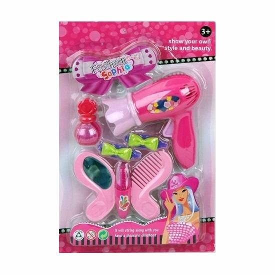 Donkerroze speelgoed fohn met accessoires voor meisjes Roze
