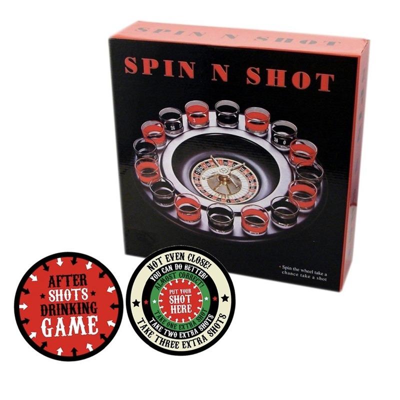 Drankspel-drinkspel shot roulette met after shots viltjes