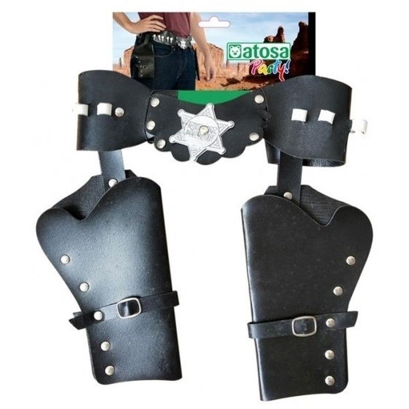 Dubbele sheriff/cowboy holsters verkleed accessoire