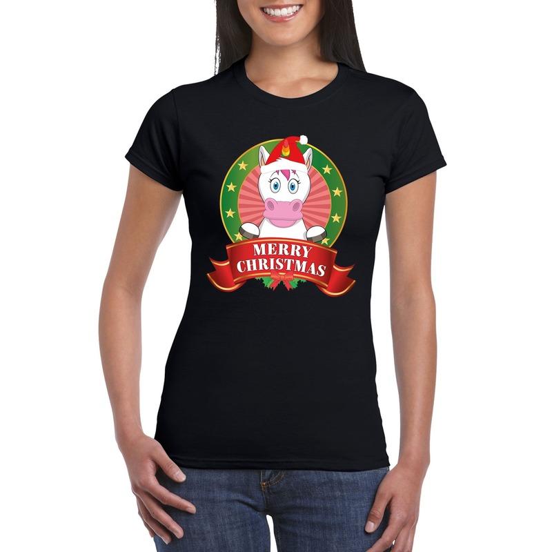 Eenhoorn Kerst t-shirt zwart Merry Christmas voor dames