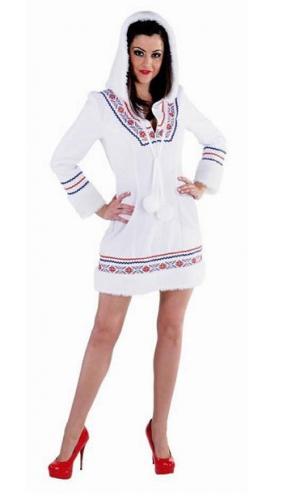 Eskimo verkleed jurkje/kostuum voor dames met capuchon