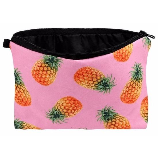 Etui met ananas design 20 x 14 cm Multi