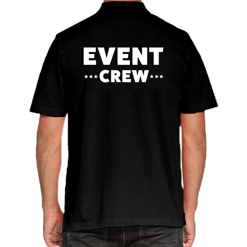 Event crew - personeel tekst polo shirt zwart voor heren