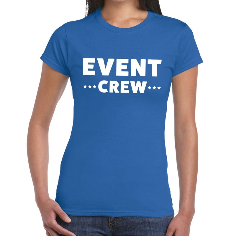 Event crew - personeel tekst t-shirt blauw dames