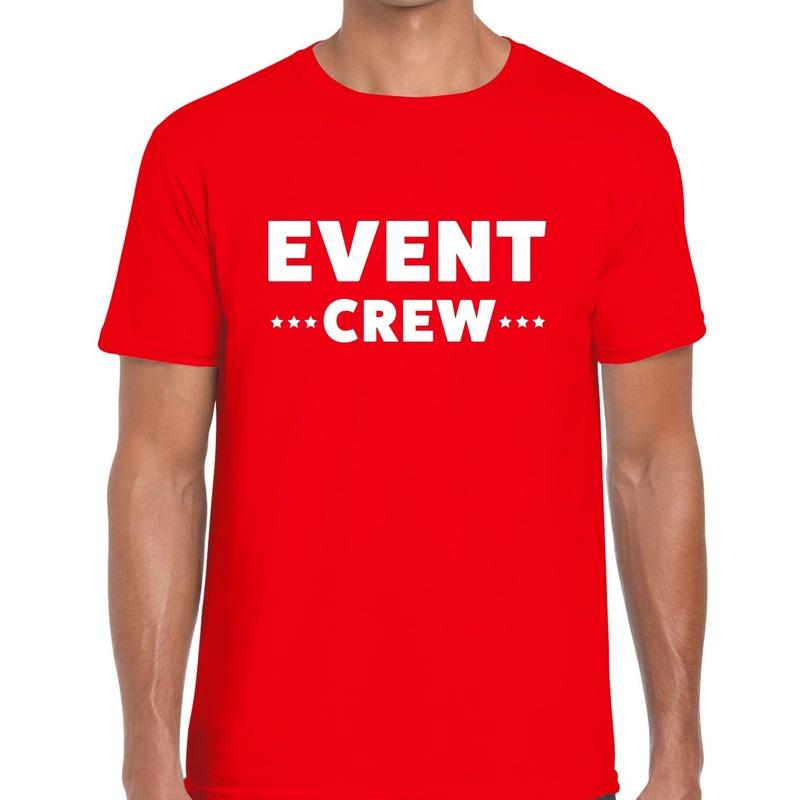 Event crew - personeel tekst t-shirt rood heren