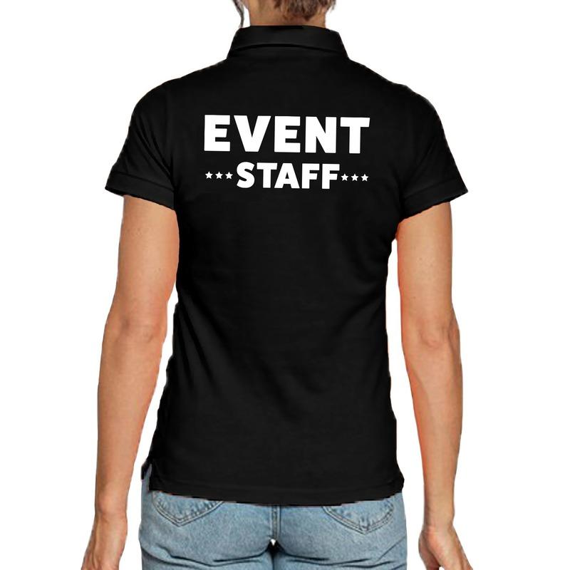 Event staff - personeel tekst polo shirt zwart voor dames