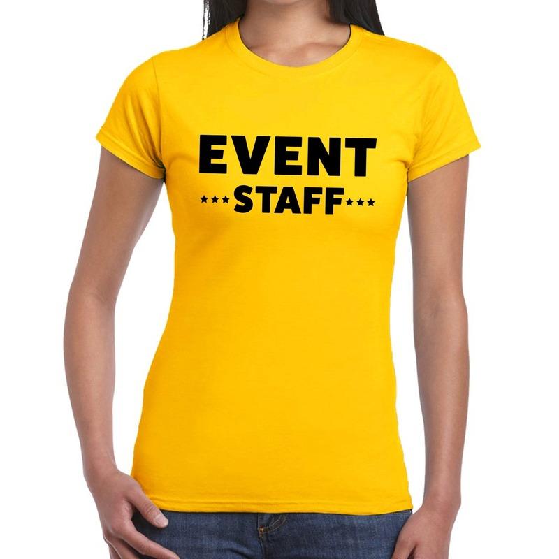 Event staff - personeel tekst t-shirt geel dames