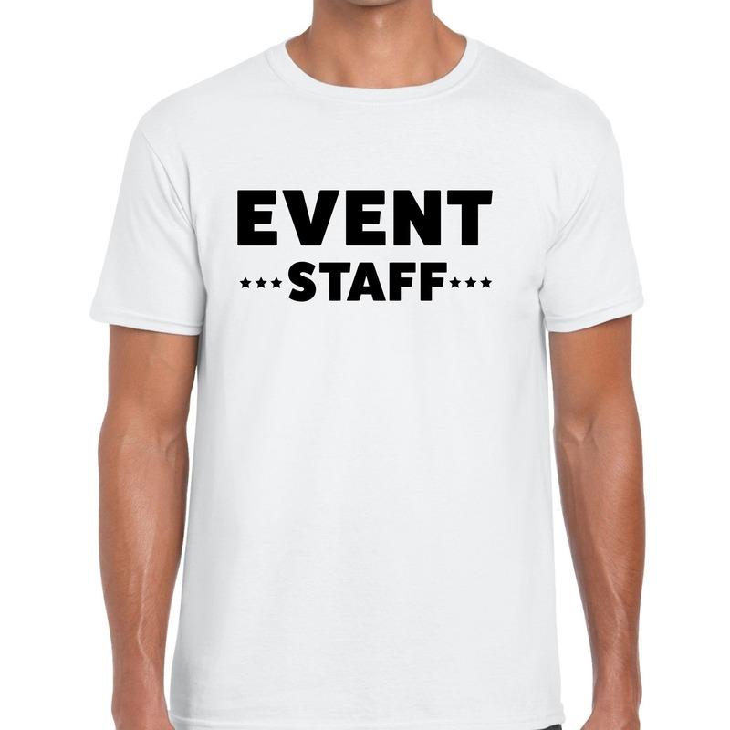 Event staff - personeel tekst t-shirt wit heren