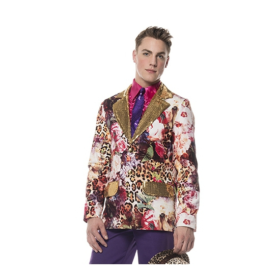 Feest colbert met luipaard print goud
