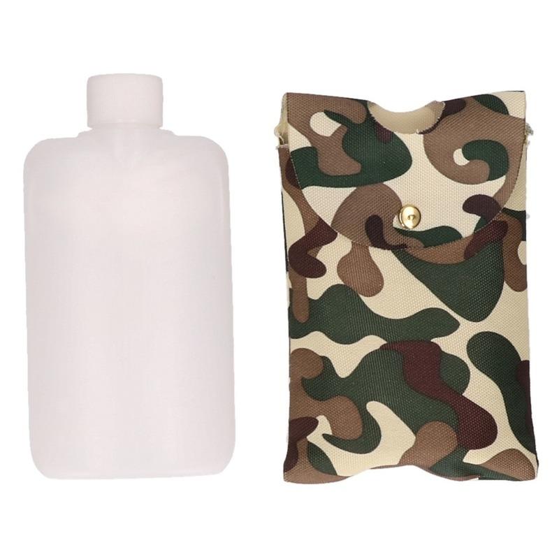 Feest heupflesje plastic in camouflage hoes/tas 350 ml