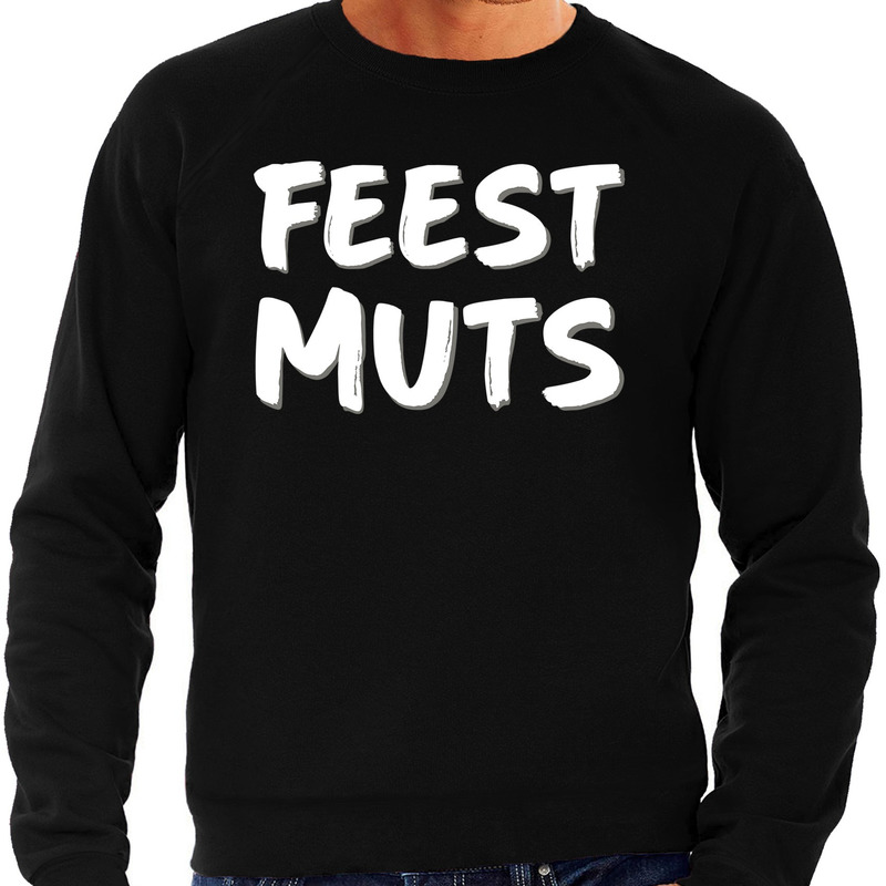 Feest muts sweater - trui zwart met witte letters voor heren