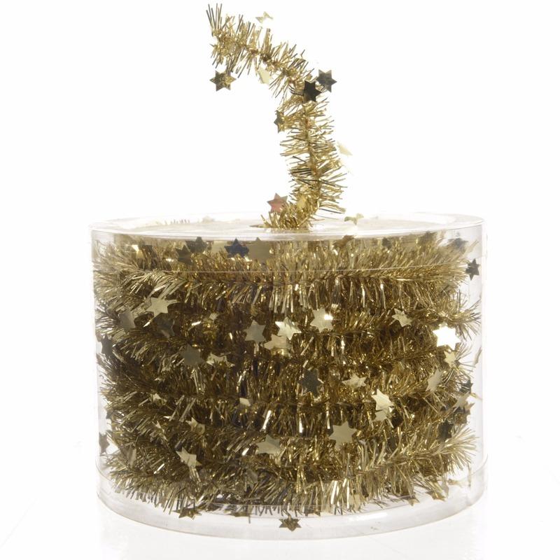 Feestslinger dun goud sterren folie 7 x 270 cm