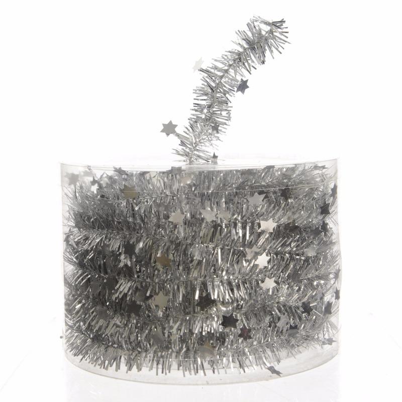 Feestslinger dun zilver sterren folie 7 x 270 cm