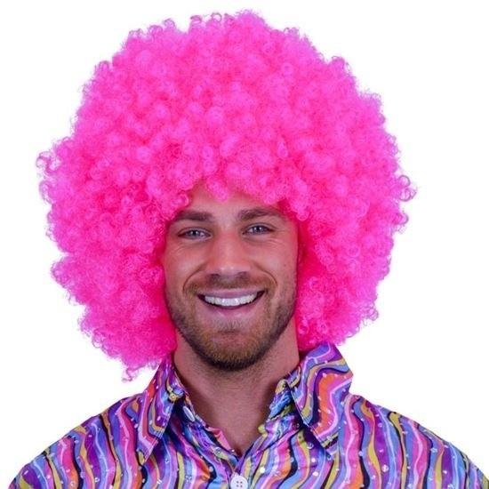 Fel roze afro pruik Roze