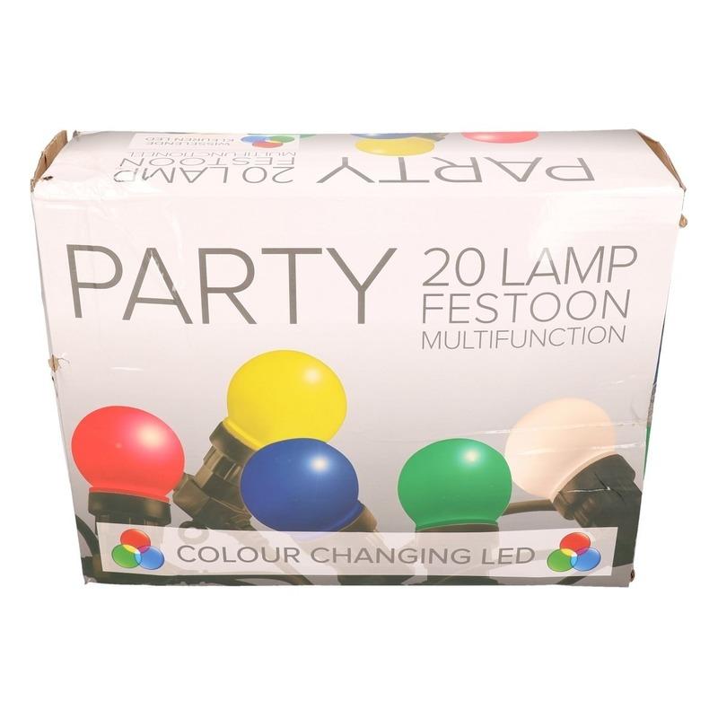 Festoon buitenfeestverlichting gekleurde RGB lampbolletjes 12 m