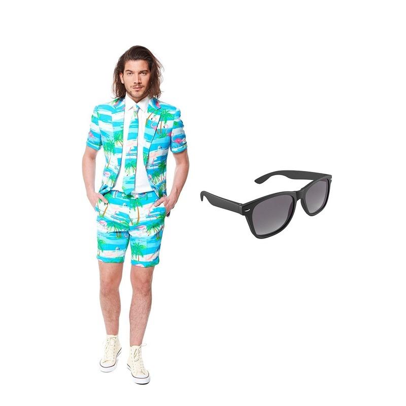 Flamingo zomer heren kostuum maat 50 (L) met gratis zonnebril