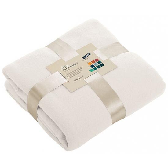 Fleece deken gebroken wit