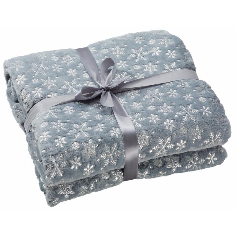 Fleece deken grijs met sneeuwvlokken print 130 x 150 cm