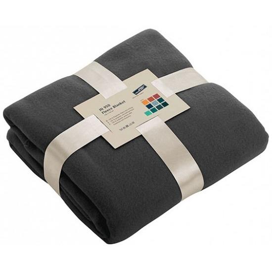 Fleece deken/plaid donkergrijs 130 x 170 cm