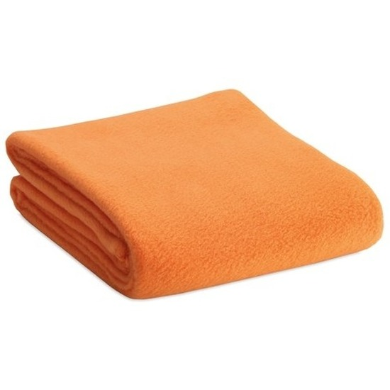 Fleece deken/plaid oranje 120 x 150 cm