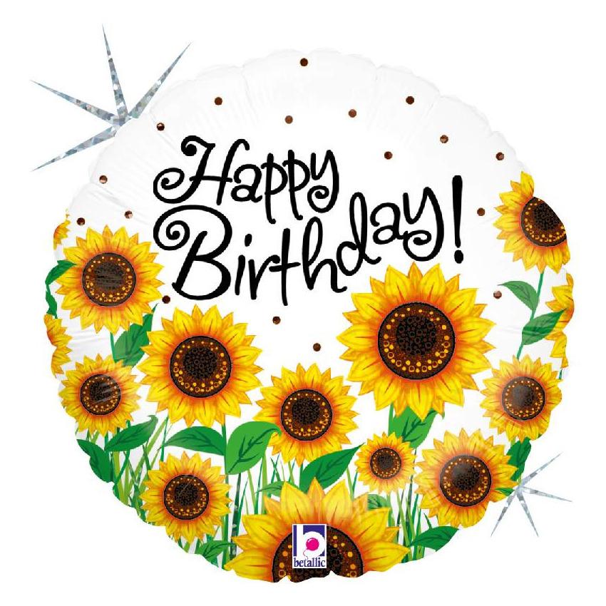 Folie ballon Gefeliciteerd/Happy Birthday zonnebloem 46 cm met helium gevuld