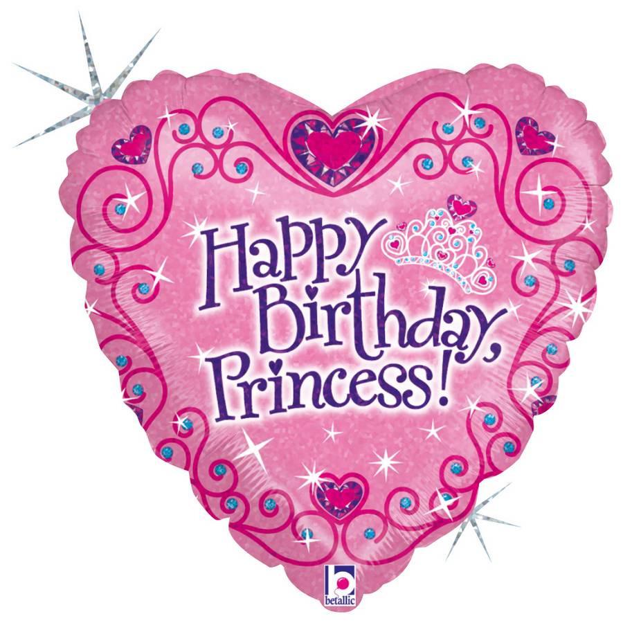 Folie ballon Gefeliciteerd Prinses/Happy Birthday Princess 46 cm met helium gevuld