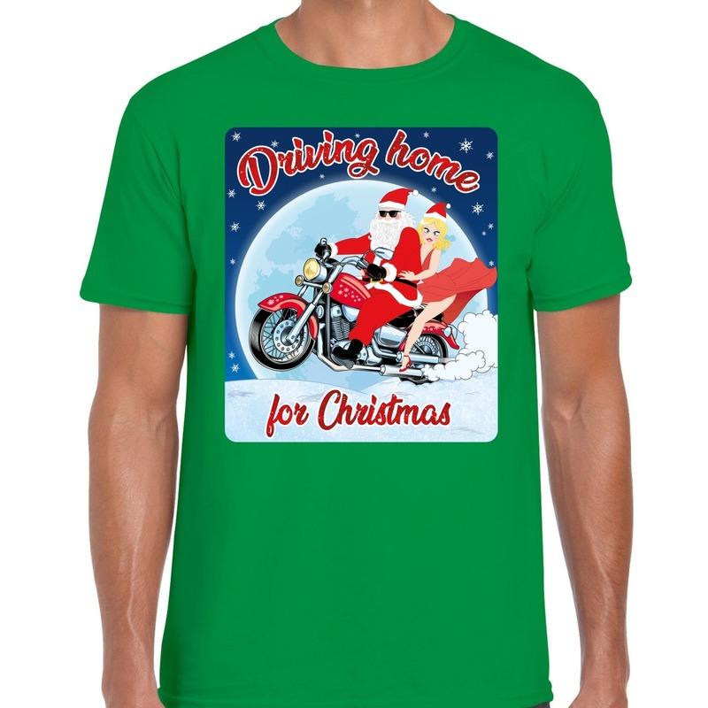 Fout kerst shirt driving home voor motorliefhebber s groen heren